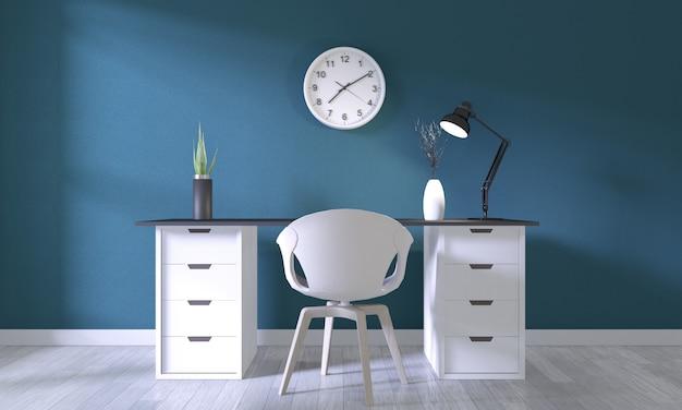 Burlarse de la oficina de carteles con un diseño blanco cómodo y decoración en una habitación azul oscuro y piso de madera blanca