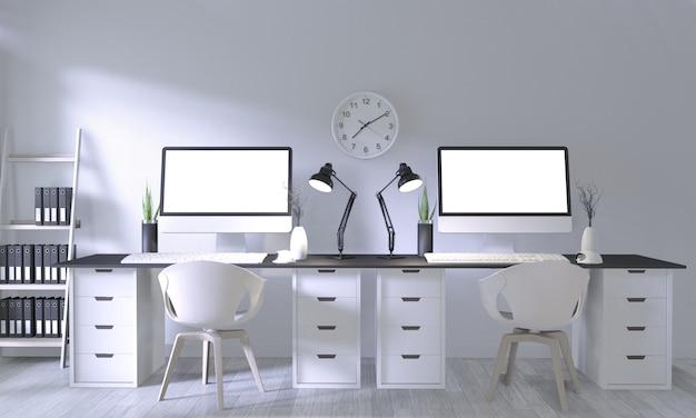 Burlarse de la oficina de carteles con un diseño y decoración blancos y cómodos en la sala blanca y el piso de madera blanca