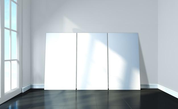Burlarse de póster en ladrillo negro y negro habitación interior moderno interior renderizado