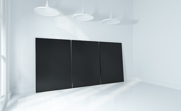 Burlarse de póster en la pared blanca y sala de piso blanco interior moderno 3d prestado