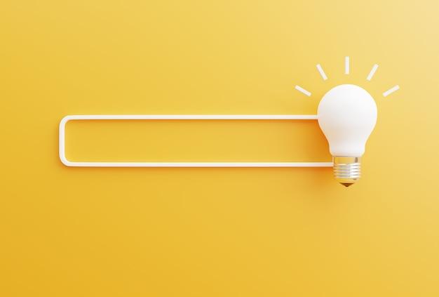 Buscar ideas o conceptos de ahorro de energía con el símbolo de la bombilla sobre un fondo amarillo
