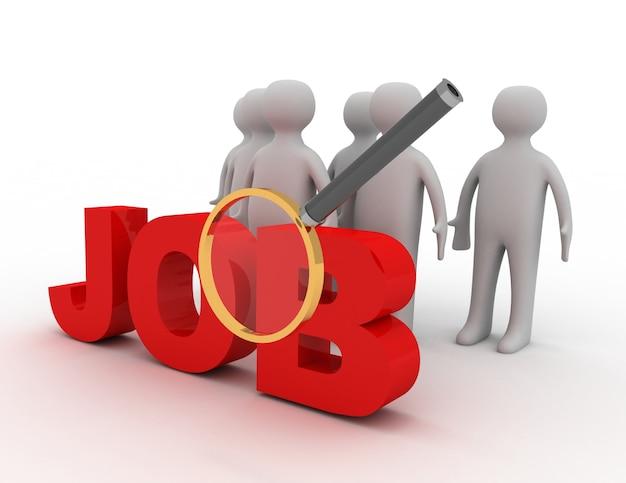 Buscar trabajo concpet. ilustración 3d