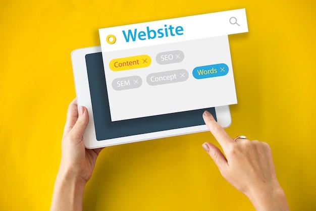 Búsqueda de etiquetas de sitios web de contenido seo de palabras clave