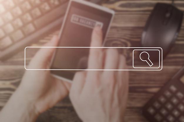 Búsqueda navegación información de datos de internet concepto de redes imagen de enfoque suave concepto de la vendimia.