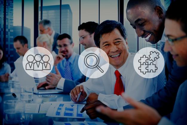 Búsqueda de recursos humanos reclutamiento trabajo en equipo concepto corporativo