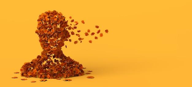 Busto de hombre descomponiéndose en hojas de otoño. copie el espacio. ilustración 3d.