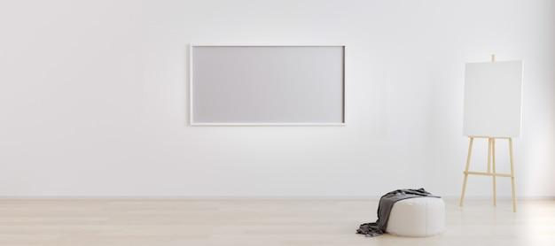 Caballete con lienzo en sala blanca brillante con marco horizontal en blanco para. espacio de trabajo del artista. habitación luminosa vacía con marco vacío para. habitación con paredes blancas y suelo de madera. representación 3d
