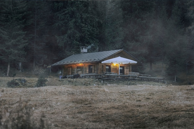 Cabaña por un bosque con textura de superposición de niebla