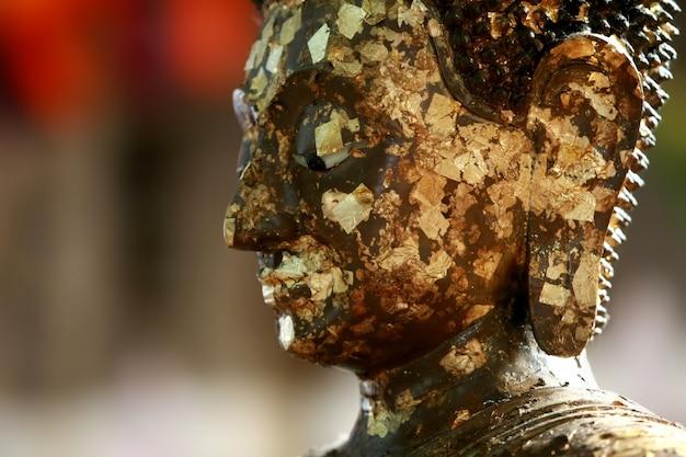 Cabeza de buda de oro en el templo