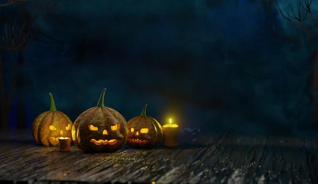 Cabeza de calabaza de halloween jack lantern con velas encendidas representación 3d