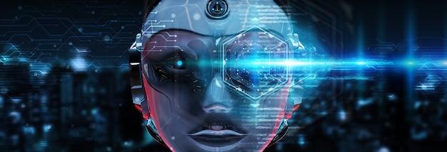 Cabeza de cyborg que usa inteligencia artificial para crear la interfaz digital representación 3d