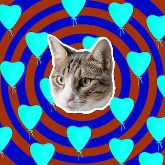 Cabeza de gato con corazones brillantes collage diseño de concepto de arte pop