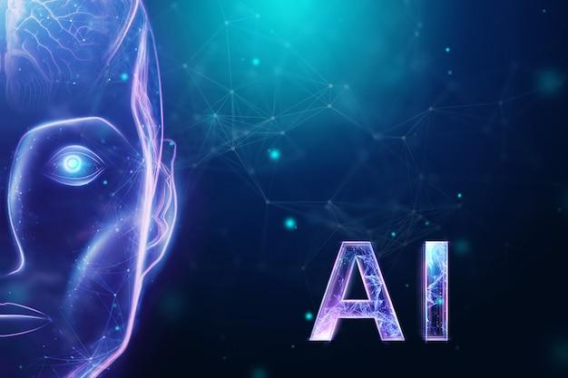 Cabeza de robot holograma azul, inteligencia artificial sobre fondo azul