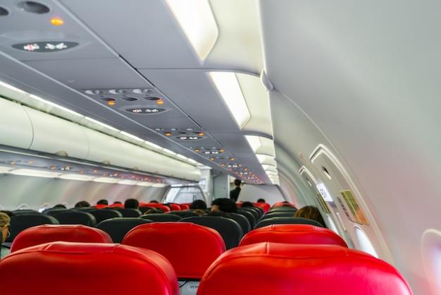 Cabina en el interior del avión.