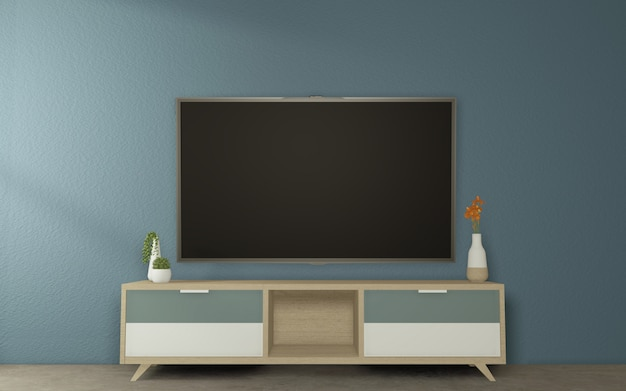 Cabinet tv mock up design en dark room japanese style.3d rednering