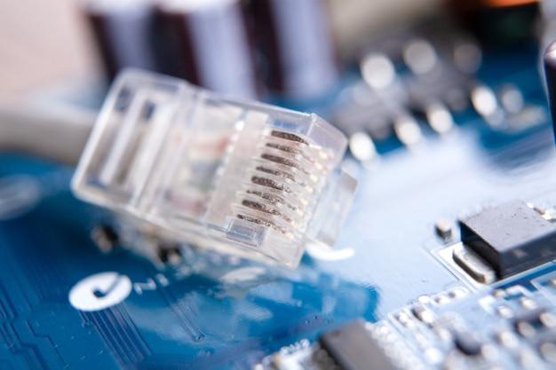 Cable ethernet lan conexión de datos por cable a internet.