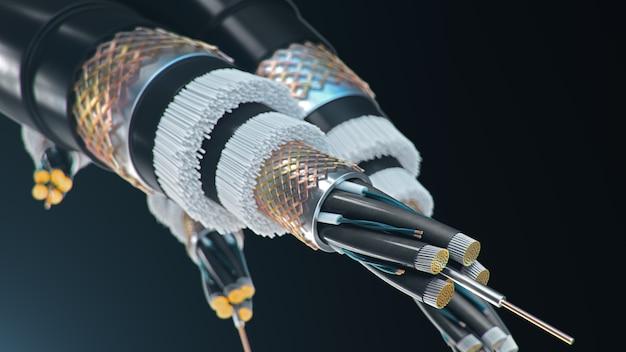 Cable de fibra óptica sobre un fondo de color. tecnología de cable futura. sección transversal detallada del cable