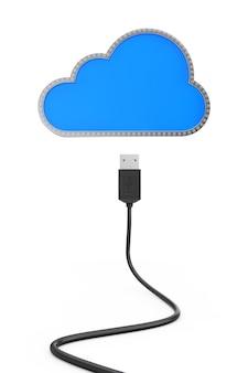 Cable usb conectado al almacenamiento en la nube sobre un fondo blanco. representación 3d