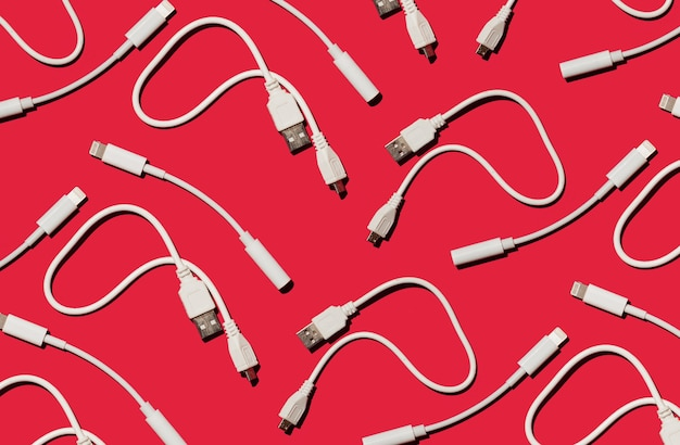 Cables cargadores y adaptadores concepto de comunicación.