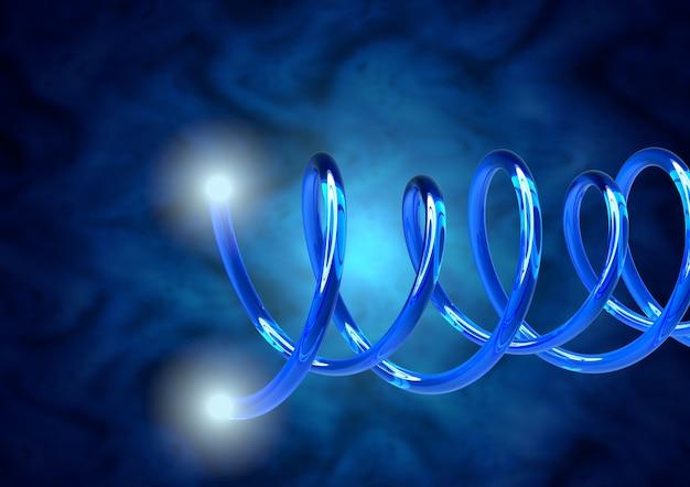 Cables de fibra óptica de primer plano azul, puntas con haces de luz brillante