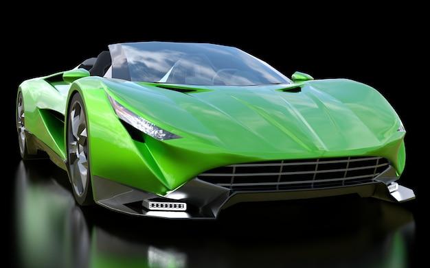 Cabriolet deportivo conceptual verde para conducir por la ciudad y pista de carreras.