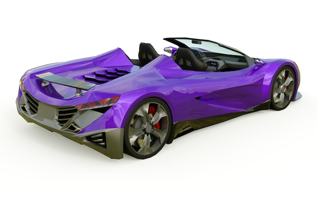 Cabriolet púrpura conceptual deportivo para conducir por la ciudad y pista de carreras en blanco