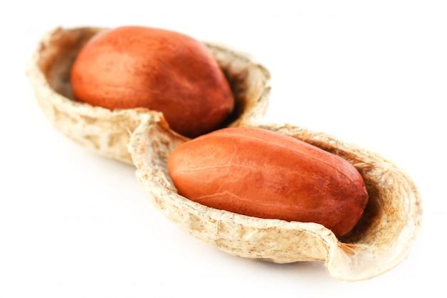 Cacahuetes en una mazorca pelada, dos granos aislados sobre fondo blanco
