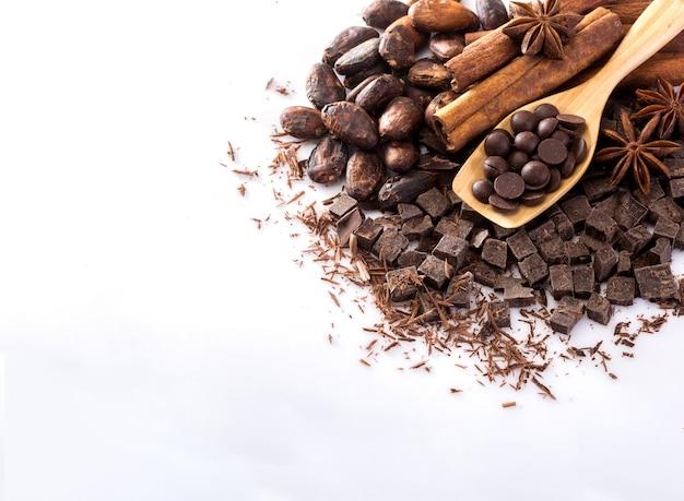 Cacao y chocolate sobre un fondo blanco.