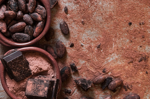 Cacao en grano y cuencos de polvo con trozos de chocolate