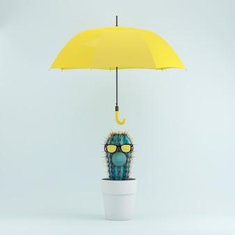Cactus en la maceta blanca con el paraguas amarillo en el fondo en colores pastel azul, idea mínima del concepto.