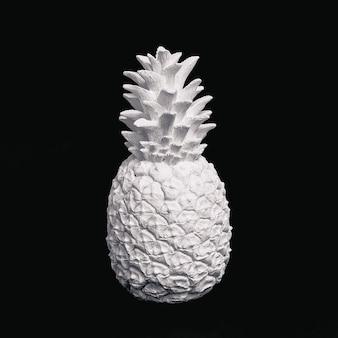 Cactus pintado de blanco en el espacio negro. diseño minimalista