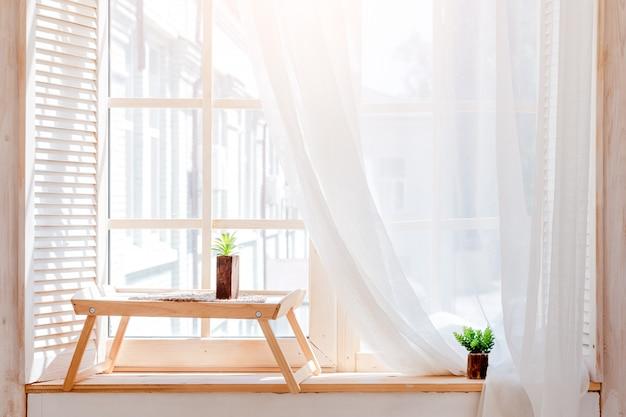 Cactus verde, suculentas en el alféizar de la mesa de madera con luz suave