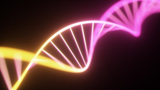 Cadena de adn de neón ultravioleta fluorescente