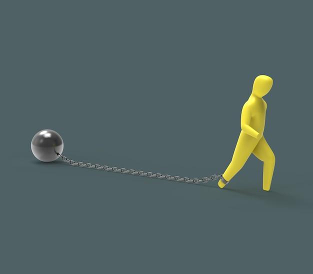 Cadena y bola - ilustración 3d