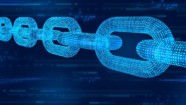 Cadena de estructura metálica 3d con código digital. blockchain render 3d.