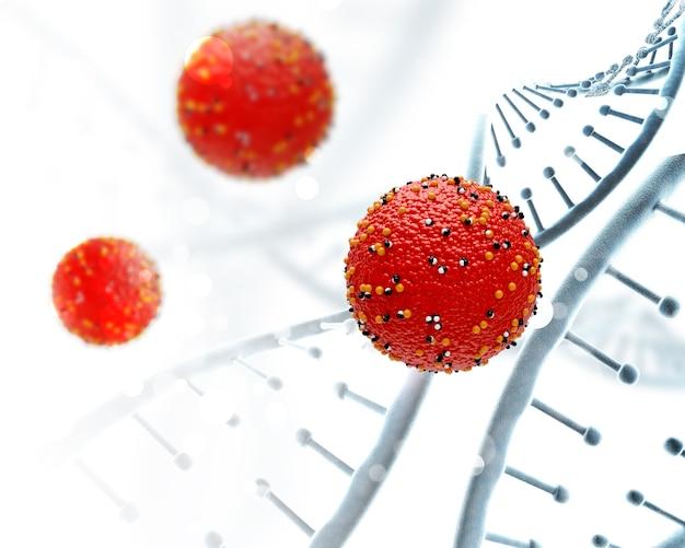 Cadenas de adn 3d y células virales.