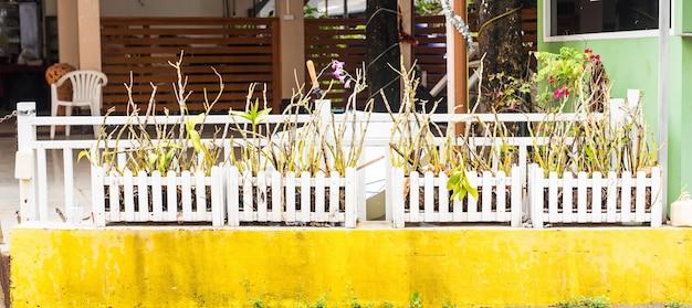 Café al aire libre en verano. valla decorativa y decoración