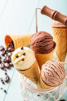 Café casero y helado de chocolate.