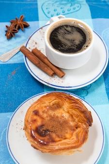 Café expresso y natillas de huevo.