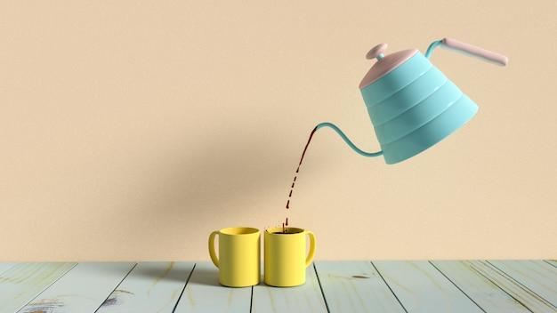 Café negro en taza amarilla. el concepto de la idea del tiempo de trabajo y de la rotura y el estilo en colores pastel, 3d rinden.