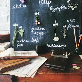 Cafe pizarra libros pinceles pintura interior
