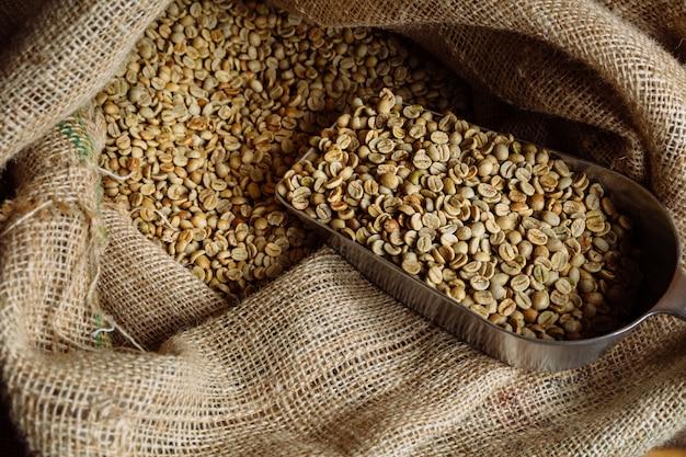 El café verde sin tostar se encuentra en bolsas de arpillera.
