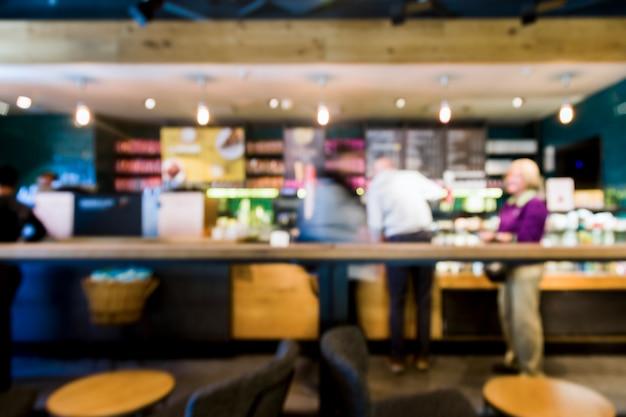 Cafetería con efecto borroso