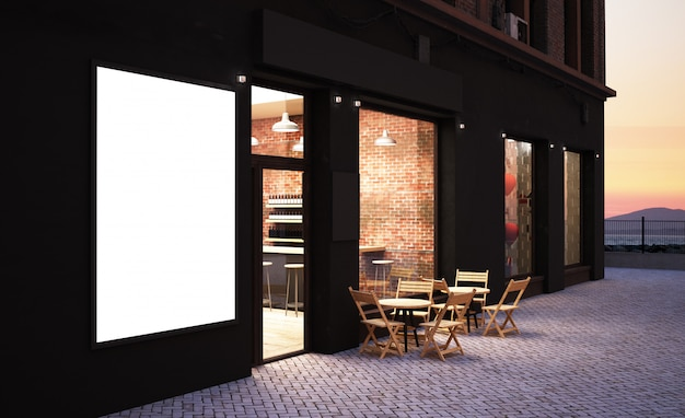Cafetería frente a la tienda