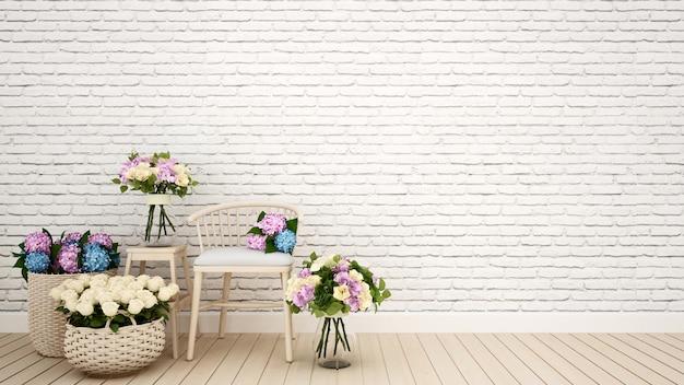 Cafetería o decoración de la sala de estar flor - representación 3d
