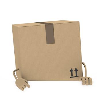 Caja en 3d sujetando un letrero vacío