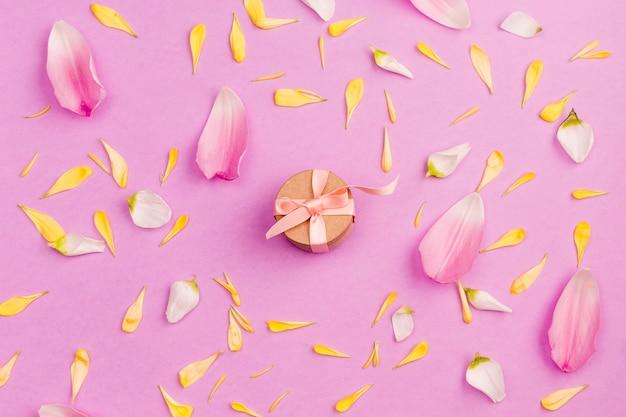 Caja actual entre pétalos de flores.