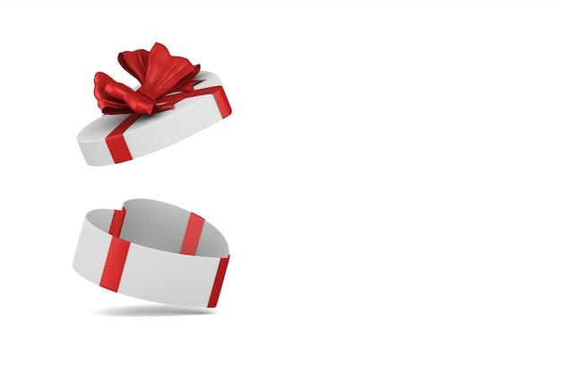 Caja blanca con ilustración 3d de lazo rojo