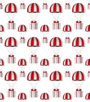 Caja blanca con lazo rojo y paracaídas sobre fondo blanco. textura fluida. ilustración 3d aislada