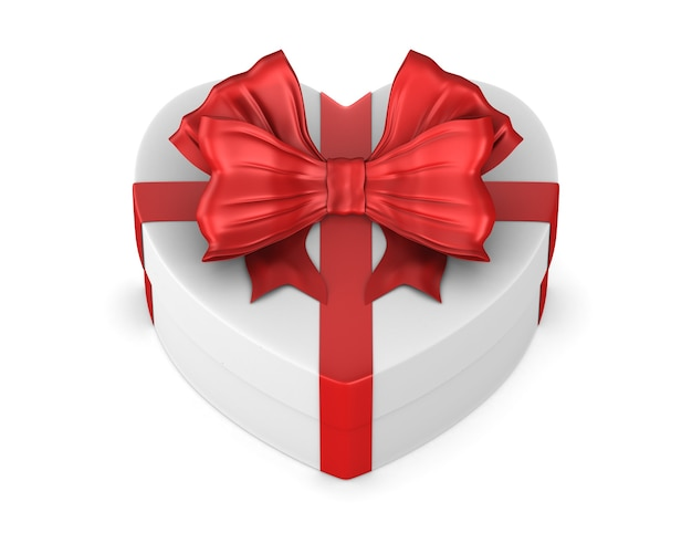 Caja blanca con lazo rojo sobre fondo blanco. ilustración 3d aislada